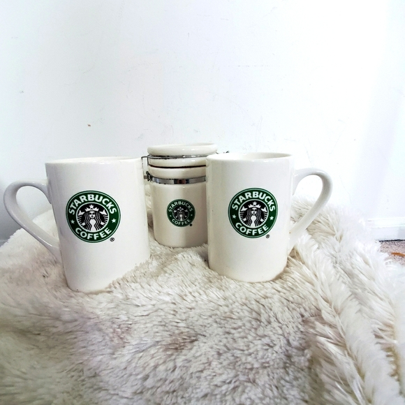 2 Starbucks Mugs & Coffee Cannister Set 2007